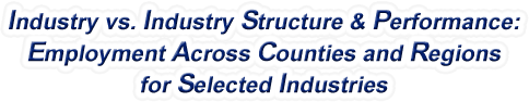 New Jersey - Industry vs. Industry Structure & Performance: Employment Across Counties and Regions for Selected Industries